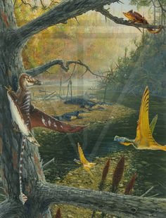Upper Triassic Southern Europe: Pterosaurs- Eudimorphodon & Austriadactylus A small arboreal reptile-Drepanosaurus, and basking Phytosaurs.