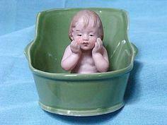 Gebruder Heubach Bisque Baby in Tub - Bayberry's Antique Dolls #dollshopsunited