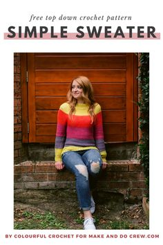 This raglan crochet sweater pattern is worked from the top down and is SEAMLESS! Even beginners can make this garment. Free pattern and tutorial. #makeanddocrew #freecrochetpattern Easy Crochet, Free Crochet, Beginner Crochet, Diy Clothing, Clothing Patterns, Make And Do Crew, Cardigan Pattern, Crochet Patterns For Beginners, Cool Sweaters