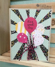 Just Sponge It: Balloon Bouquet Meets Sunburst Die! It's My Party Designer Series Paper, Sunburst Thinlits Die, Balloon Bouquet Punch, Big Shot, Wink of Stella, Stampin' Up!, DIY, Birthday