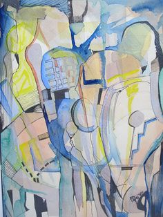Vintage Abstract Expressionist Cubism Watercolor Ink Painting Signed Fatai -inspiration