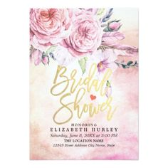 Bridal Shower Elegant Watercolor Floral & Feathers Card - wedding invitations cards custom invitation card design marriage party
