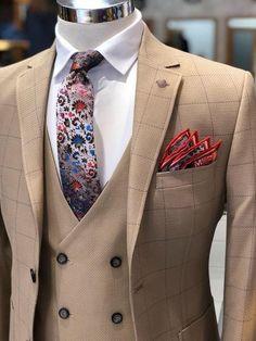 Herigate Slim-Fit Plaid Suit Camel – [pin_pinter_full_name] Herigate Slim-Fit Plaid Suit Camel Herigate Slim-Fit Plaid Suit Camel – BOJONI Dress Suits, Men Dress, Pant Suits, Brown Tuxedo, Bohemian Attire, Mode Costume, Designer Suits For Men, Plaid Suit, Suit Vest
