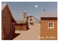 Truchas, New Mexico, one hour north of Santa Fe. This catholic church which was built in New Mexico was placed so that a family of Christians could preach what they believe in spite of the society around them. Visit Santa Fe, rent a cozy historic adobe home in town, good winter rates, walking distance to the plaza, check it out Airbnb 2562597, Winter in New Mexico is beautiful for skiing, snow shoeing and hikes under the full moon.