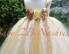 Oro niña de las flores tul oro vestido por MyPreciousTutu en Etsy