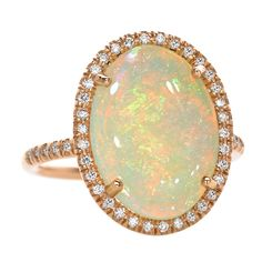 LAUREN K. Rainbow Opal Ring - One-of-a-Kind Mischa Ring in 18k rose gold with a spectacular, rainbow-colored opal (2.69cts) and brilliant-cut diamond accents (0.24ct).