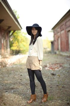 Discover this look wearing Bronze Madden Girl Boots, Black Floppy Hat H&M Trend Hats, Tan H&M Trend Shorts - Hello, Autumn by lizchan styled for Modest, Photo Shoot in the Fall H&m Trends, Floppy Hats, Textiles, Photoshoot, Shorts, My Style, How To Wear, Black, Fashion