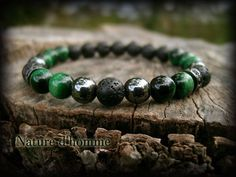 A tiger's eye hematite and lava Ref carractère bracelet: