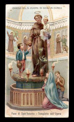 Catholic Religion, Catholic Saints, Roman Catholic, St Anthony Prayer, Saint Anthony Of Padua, Saint Antony, Padua Italy, Vintage Holy Cards, St Clare's