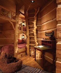 Fun rustic cabin bedroom for the kids! Cabin Bunk Beds, Cabin Bedrooms, Theme Bedrooms, Rustic Bedrooms, Bunk Rooms, Log Cabin Homes, Log Cabins, Treehouse Cabins, Cabin Loft