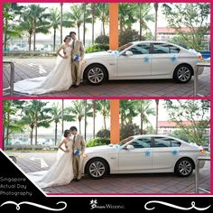 Our pretty bride in our beautiful long train white wedding gown. Groom in a silvery gold groom suit holding a sweet blue and white flower hand bouquet. Capturing the couples with their beautiful white wedding car with blue wedding car decorations. Our photographer will help to capture photos on your wedding actual day. Our pleasure serving each and every couples we met. Dream wedding boutique singapore top bridal wedding planner. For more info, visit www.dreamwedding.com.sg
