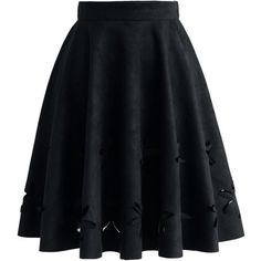 Chicwish Dancing Flower Cutout Suede A-line Skirt in Black (€32) ❤ liked on Polyvore featuring skirts, bottoms, saias, black, suede leather skirt, suede skirt, flower skirt, a line skirt and lined skirt