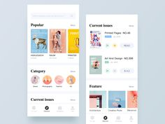 Magazine Reader APP - Discover designed by Sunnee for Panda Plus. Connect with them on Dribbble; Mobile Ui Design, App Ui Design, Printed Pages, Screen Design, Digital Magazine, Photography Branding, Creative Photos, Show And Tell, Design Development