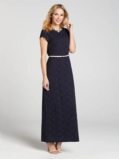 An modest all-over lace maxi dress for Spring has arrived. And we know you'll love this cap sleeve piece, as it features a white waist belt to delicately add shape to the dress while contrasting nicely with the navy colour....3010101-0860