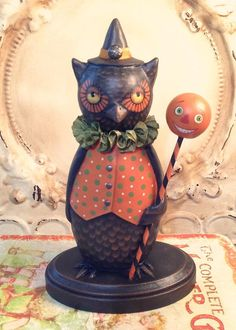 Folk Art One of a Kind Owl witch pumpkin Halloween Vintage