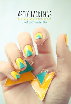blue + yellow geometric nails #nail #art