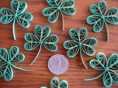 12ct Paper Quilled Clover Shamrocks Table Decoration Card and Scrapbooking Embellishments for St. Patrick's Day on Etsy, $3.50