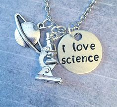 I Love Science Necklace  Science Jewelry  by LulusStampings