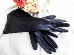 Vintage black gloves size 7 gloves formal by thevintagemagpie01