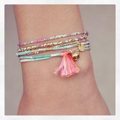 Bracelet Bebe, Bracelets, Bangles, Aime Comme Marie, Fabric Jewelry, Diy Jewelry, Handmade Accessories, Crafts, Liberty Print