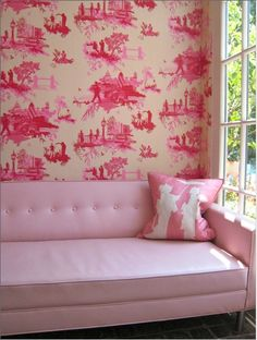 London Toile wallpaper - looks like Paris Toile except if you look closely and realize they're being mugged;)