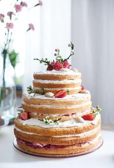 Strawberries & vanilla cream birthday cake.