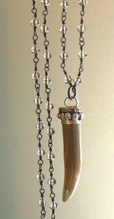 Long Tusk Necklace Boho Jewelry Long Pendant Necklace by ViaLove