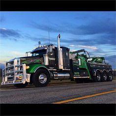 Big Rig Trucks, Tow Truck, Cool Trucks, Semi Trucks, Custom Big Rigs, Custom Trucks, Kenworth Trucks, Peterbilt, Car Hauler Trailer