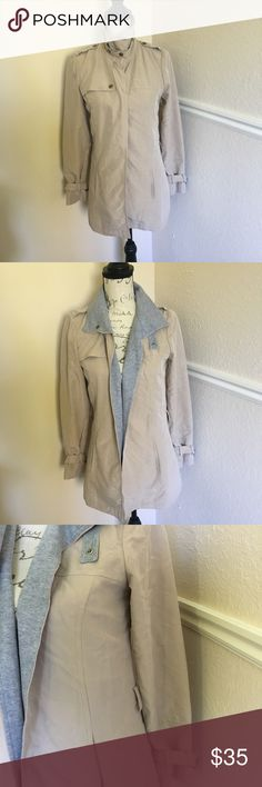 Anthro Elevenses light jacket Anthropologie Elevenses light jacket - khaki and grey - only flaw is it is missing the waist strap, buttons at the color and has buttons on the wrist - perfect for a light spring or fall jacket - size 4 can fit a 2 also Anthropologie Jackets & Coats