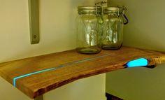 DIY Idea: Make Glowing Resin-Inlayed Wooden Shelves | Man Made DIY | Crafts for Men | Keywords: decor, color, DIY, organization