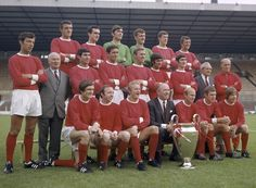 Champions of Europe: Matt Busby, Bobby Charlton and George Best can be seen after their heroic European Cup win over Benfica in 1968 Man Utd Squad, Man Utd Fc, Squad Photos, Team Photos, Retro Football, Football Pics, School Football, Vintage Football, Football Team