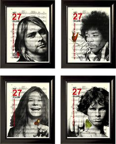 27 Club Set of 4  Prints Janis Joplin Kurt Jim Morrison Jimi Hendrix on Sheet Music Pages mixed media digital art on Etsy, ฿733.33