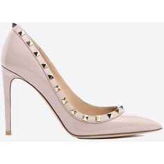 Valentino Garavani Rockstud Pump ($690) ❤ liked on Polyvore featuring shoes, pumps, poudre, studded shoes, high heeled footwear, valentino pumps, patent leather shoes and spiked heel pumps