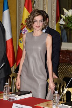 King Felipe VI of Spain and Queen Letizia of Spain attends a meeting at the Library of the Cervantes institute on June 4, 2015 in Paris, France.