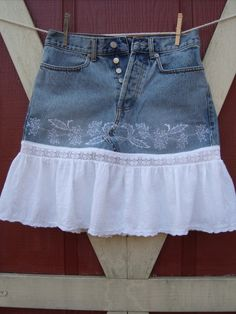 Embroidered Short Blue jean skirt with flirty white ruffle button fly sz sm ...  etsy.com