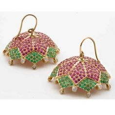 Ruby and emerald encrusted jhumkas..