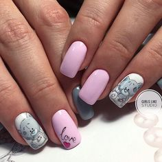Дизайн ногтей тут! ♥Фото ♥Видео ♥Уроки маникюра Classy Nails, Stylish Nails, Trendy Nails, Baby Nails, Girls Nails, Shellac Nails, Nail Manicure, Disney Acrylic Nails, Animal Nail Designs