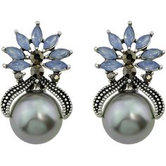 Gray Color Fashion Small Flower Pearl Female Earrings ❤ liked on Polyvore featuring jewelry, earrings, flower jewelry, gray pearl jewelry, earring jewelry, gray jewelry and grey pearl jewelry