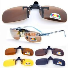 Clip-on Attachment Polarized Sunglasses (Brown Lens/Yellow Lens/Gray Lens/Blue Lens) Clip On Sunglasses, Polarized Sunglasses, Oakley Sunglasses, Lens, Blue, Yellow, Brown, Shades, Clothes