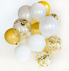 Check out this item in my Etsy shop https://www.etsy.com/listing/505573416/gold-white-confetti-balloon-bouquet