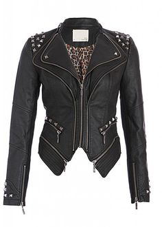 Rocking Cool Black Studded Punk Style PU Faux Leather Slim Fit Moto Jacket
