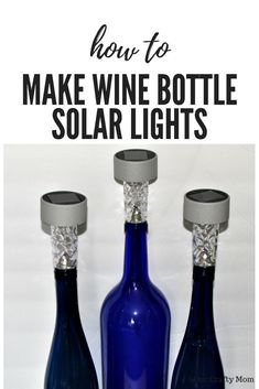How To Make DIY Wine Bottle Tiki Torches And Solar Lights. Make DIY Wine Bottle Tiki Torches and Solar Lights using leftover wine bottles and dollar store solar lights! Bottle Tiki Torch Diy, Liquor Bottle Crafts, Diy Bottle, Bottle Lamps, Crafts With Wine Bottles, Wine Bottle Decorations, Decorating Wine Bottles, Wine Bottle Torches, Recycled Wine Bottles