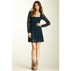 Nwt {Free People} Flirt For You Teal Lace Dress