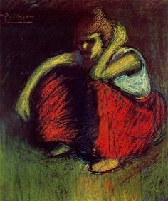 A red skirt by Pablo Picasso - oil painting reproduction