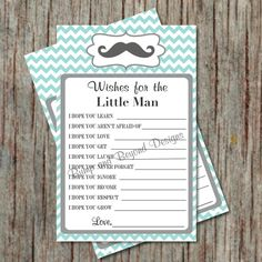 Little Man Mustache Baby Shower Game, Wishes for Baby by BumpAndBeyondDesigns, $5.00