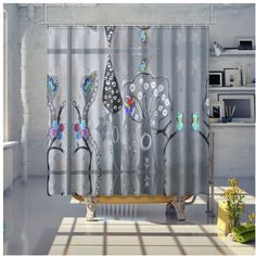 Paper Painting Forest Shower Curtain Curtains, Shower, Paper, Prints, Painting, Color, Home Decor, Art, Rain Shower Heads
