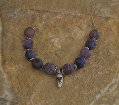 Handmade Drusy Agate Beaded Necklace Purple by TafSchaeferDesign, $83.00