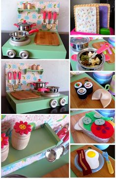 Dirt Cheap Decor!: Play Kitchen and Food DIY. Great ideas for making the salt and pepper shakers and finishing touches of the kitchen too!