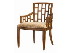 Tommy Bahama Home Ocean Club <b>Customizable</b> Lanai Arm Chair with Geometric Pattern - Reeds Furniture - Dining Arm Chairs
