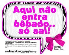 Plaquinhas Divertidas Zebra e Rosa